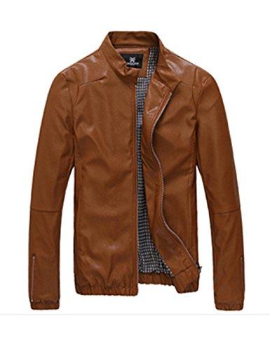 WHITEPAUL 怀特保罗 时尚立领皮衣男 修身机车皮衣 皮夹克外套 男装X303XP09XJXM (M, 棕色)-图片