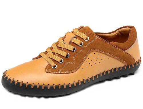 Camel 骆驼 时尚超酷英伦朋克气质简约款皮鞋 真皮全手工缝制便鞋 舒适韩版休闲鞋 商务男鞋