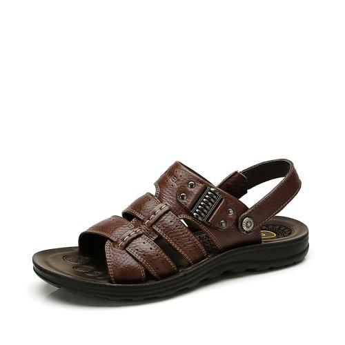 Camel 骆驼 骆驼头层牛皮日常休闲男士沙滩凉鞋 2203614