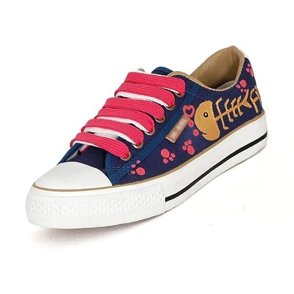 卜丁手绘鞋子个性涂鸦鞋猫和鱼手绘图案低帮系带帆布鞋平底鞋女鞋