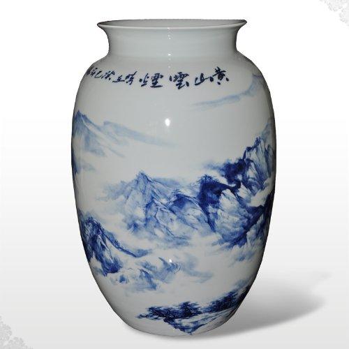 回至 淘瓷缘★景德镇名家俞锦昌手绘青花瓷器花瓶君子瓶摆件【山中】
