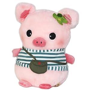 正版hwd嘟嘟猪可爱q版小猪条纹t恤/复古背包毛绒玩具公仔生日礼物