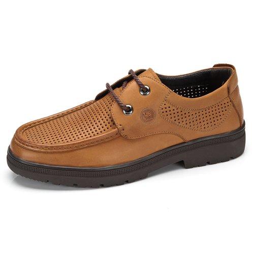骆驼牌 男鞋 2014春夏新品 日常休闲皮鞋 圆头系带橡胶底透气鞋子 W422272007