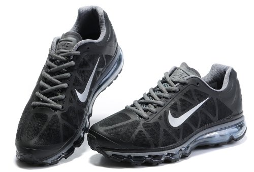 Nike 耐克 AIR MAX+2011系列 男鞋 气垫跑步鞋 透气 男士休闲运动鞋 黑银网 429889-010