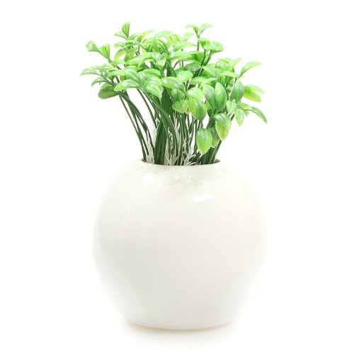 陶瓷 现代时尚简约 家居装饰品 工艺品 摆设 圆型小花瓶(送豆苗) tc