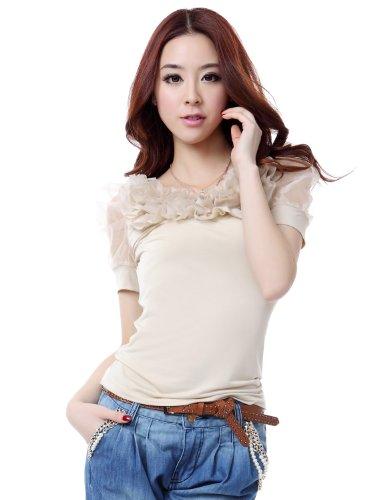 OSA欧莎 夏装新款韩版OL女装泡泡袖修身针织打底衫短袖T恤 ST22058