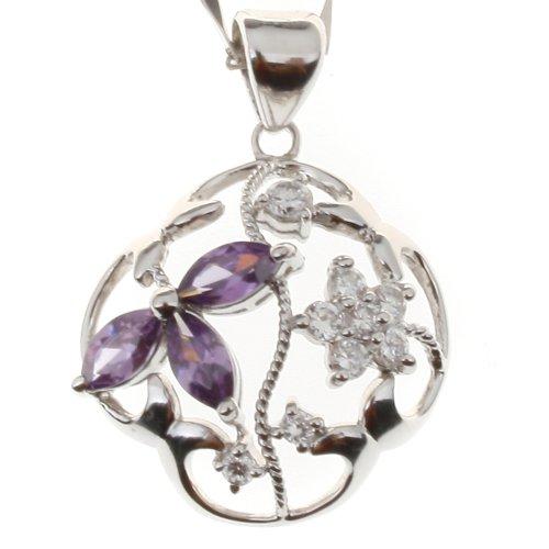 欧瑞德 925银镶嵌水晶吊坠 紫色花语