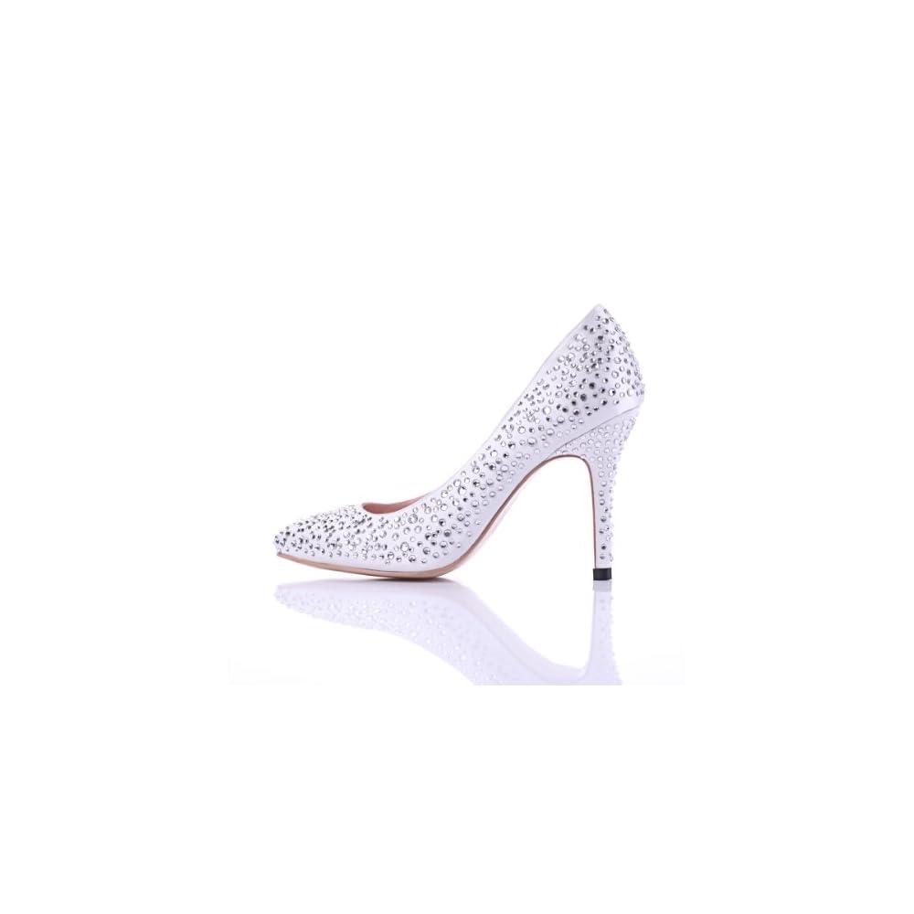 全水钻尖头白色丝缎高跟气质女凉鞋