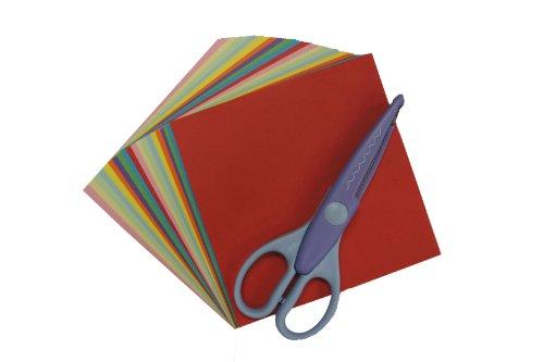 儿童剪纸创意拼贴组合 附花边剪刀1把 彩纸1包 50张 包