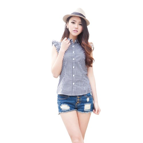 ITISF4 艾夫斯 女式 韩版淑女格子荷叶袖衬衫 21222120012