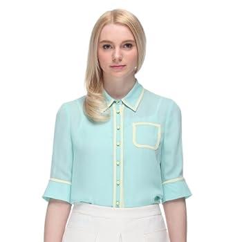 女式中袖衬衫_商品five plus 女式 欧美雪纺中袖衬衫 2132014820640