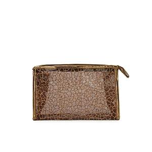 INMOST洛蘭絲 透明防水內層 镂空亮片紋理洗刷包 手拎化妝包B803(正品特價) (咖啡色)