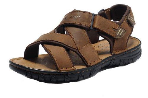 DEEWAHUA 韩版时尚男凉鞋 商务休闲鞋 头层皮凉鞋子 沙滩鞋 运动沙滩鞋 男