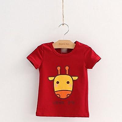 乖木 童装 夏款 卡通纯棉短袖男女儿童t恤 红色 100cm