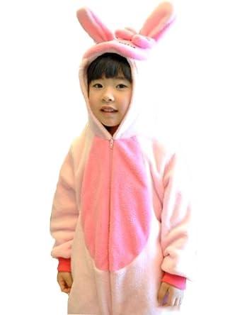 网豆豆 儿童连体睡衣 秋冬女卡通动物 粉色小兔子 哈服 爬服 【支持货