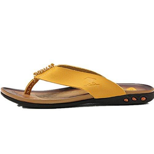 走索 夏季男鞋户外透气休闲鞋时尚耐磨轻盈真皮夹脚拖鞋男士凉鞋沙滩鞋人字拖鞋918