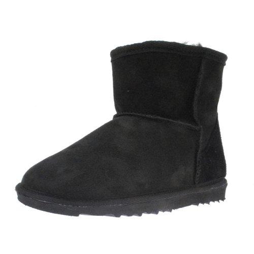 TLL新款女鞋圆头平底保暖羊皮毛一体雪地靴及踝短筒真皮磨砂靴子35-40码
