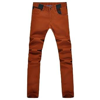 朗尼 2012秋冬新品休闲裤男长裤橙色棉布韩版修身男士裤子