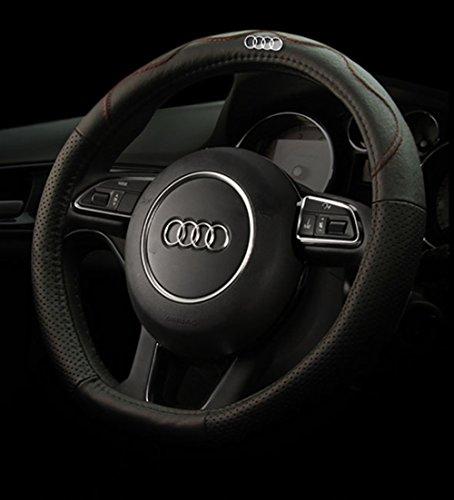 专用于奥迪新a4l q5 q3 q7 q5 a3 a1老款a6l方向盘套 有车标动黑红