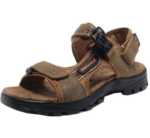 DEEWAHUA 夏季男清凉鞋款 马皮鞋面 乳胶内垫 简约随性 精美舒适 舒适轻便 户外男凉鞋