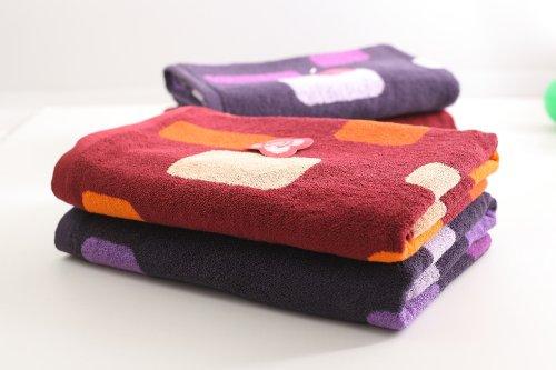 GRACE洁丽雅 团购礼品 企业福利 纯棉提花方格浴巾套装(2条装)桔+紫 AM8756-2-图片