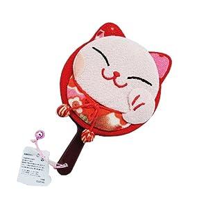 > 招喜屋和风招财猫系列 日本正版可爱单猫手柄镜(绿) zhao xi wu he