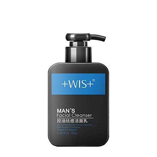 控油清爽洗面奶男 去黑头祛痘印深层清洁毛孔收缩 wis男士洁面乳