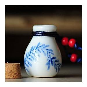 maizi迈姿 纯人工手绘青花瓷瓶子项链 香薰香水许愿瓶
