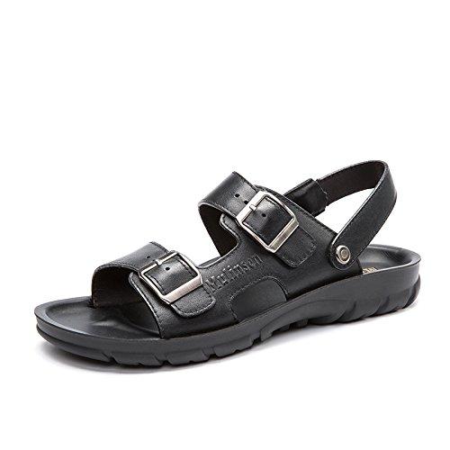 MULINSEN 木林森 男凉鞋2015夏季新款真皮休闲鞋男露趾防滑英伦沙滩鞋子