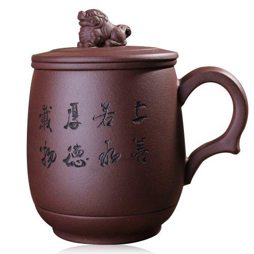 Snowwolf 雪狼 瑞兽吉祥925 紫砂杯 宜兴 正品 全手工含内胆过滤茶杯 HJ-图片