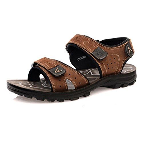 PLAYBOY 花花公子 男士户外沙滩鞋凉鞋 夏季百搭魔术贴真皮防滑休闲透气凉鞋