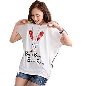孕妇装卡通中长款圆领蝙蝠袖t恤孕妇上衣yyf1366 均码, 白色 高清图片
