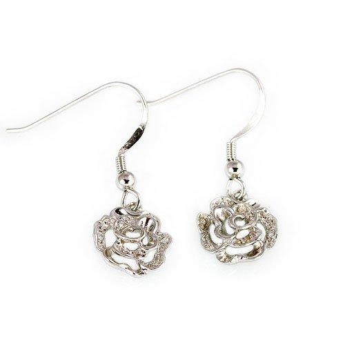 王廷珠宝 925银 玫瑰丽人耳饰-图片
