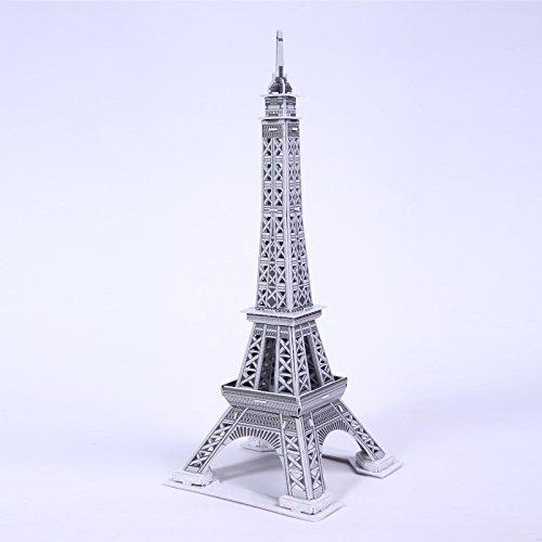立体纸质拼图 仿真3d纸模型 建筑别墅 跑车飞机益智 大四片 (菲尔铁塔