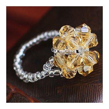 maizi迈姿 新款黄水晶米珠戒指 特色米珠女款戒指