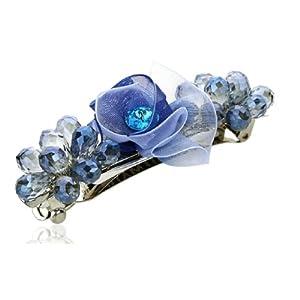 健祥 饰品发夹 弹簧夹 韩国发饰 头饰 横夹 顶夹 优雅水滴水晶布艺花朵