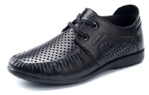 GNSHIJIA 公牛世家 夏季新款男鞋 男士镂空透气休闲鞋 低帮时尚凉皮鞋 软面皮系带男鞋