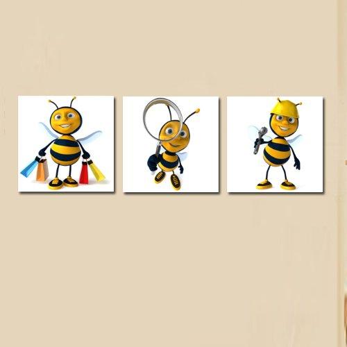 美时美刻 儿童房挂画蜜蜂爱劳动无框画幼儿园装饰画卡通动物壁画版画