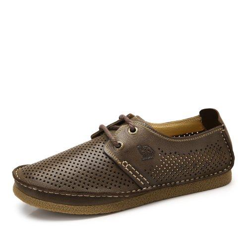 Camel 骆驼 男鞋 舒适休闲牛皮 透气系带皮鞋 夏季新款男士牛津底英伦鞋A422302011