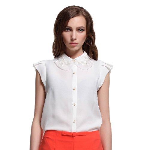 Five Plus 女式 纯色荷叶边雪纺无袖衬衫 213101475001