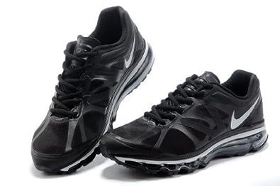 气垫运动鞋airmax2013网面缓震休闲运动气垫跑步鞋黑银高清图片