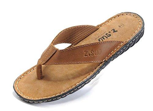 Unbeaten 时尚型男个性真皮 凉拖 透气 人字拖 头层牛皮手工 凉鞋 真皮 沙滩鞋 男鞋 拖鞋