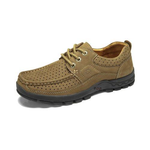 骆驼牌 正品男鞋 头层皮打孔透气休闲鞋 磨砂皮系带镂空男鞋W32344009