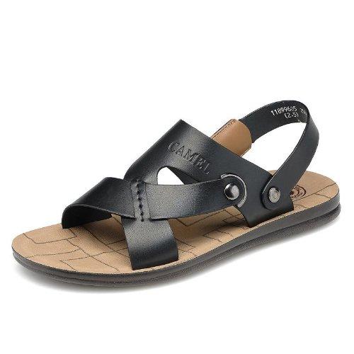 Camel 骆驼 型男大爱超酷欧式风格 沙滩鞋 透气个性 凉鞋 头层牛皮手工缝制 户外运动凉鞋 真皮防臭 沙滩鞋 时装凉鞋 男鞋