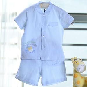 款夏装宝宝纯棉半袖衬衣短裤套装两件套可开档XDHS0032 80, 黄色