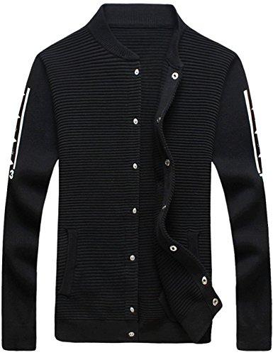 UYUK针织衫外套 男装秋装新款夹克韩版潮流休闲气质黑白男士修身休闲毛衣外套W338