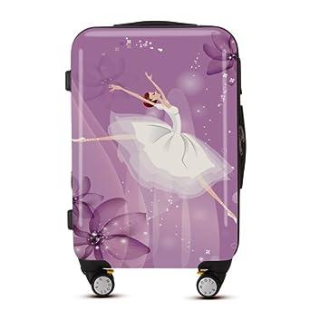 卡通跳舞女孩图案向飞机轮登机旅行箱密码锁