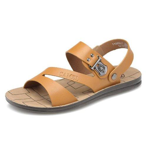 Camel 骆驼 型男大爱超酷意式风格 沙滩鞋 透气个性 凉鞋 头层牛皮手工缝制 户外运动凉鞋 真皮防臭 沙滩鞋 时装凉鞋 男鞋