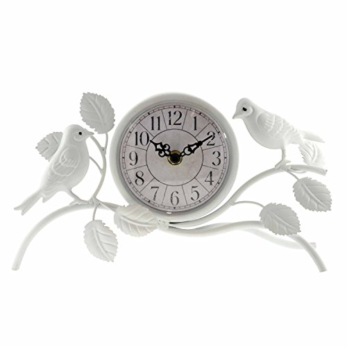 ashton sutton quartz analog table clock, 9-inch by 7-inch, white