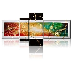 室全室美 客厅抽象时尚手绘画高档油画装饰无框画四联画 漫步云端